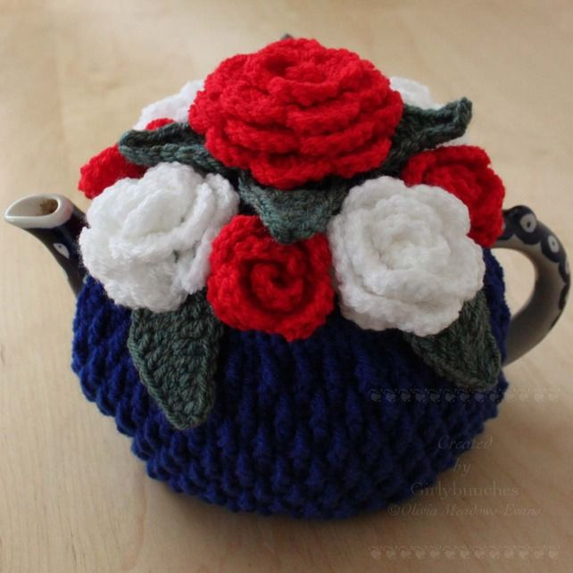 Crochet Jubilee Red White and Blue Rose Celebration Tea Cosy £20.00