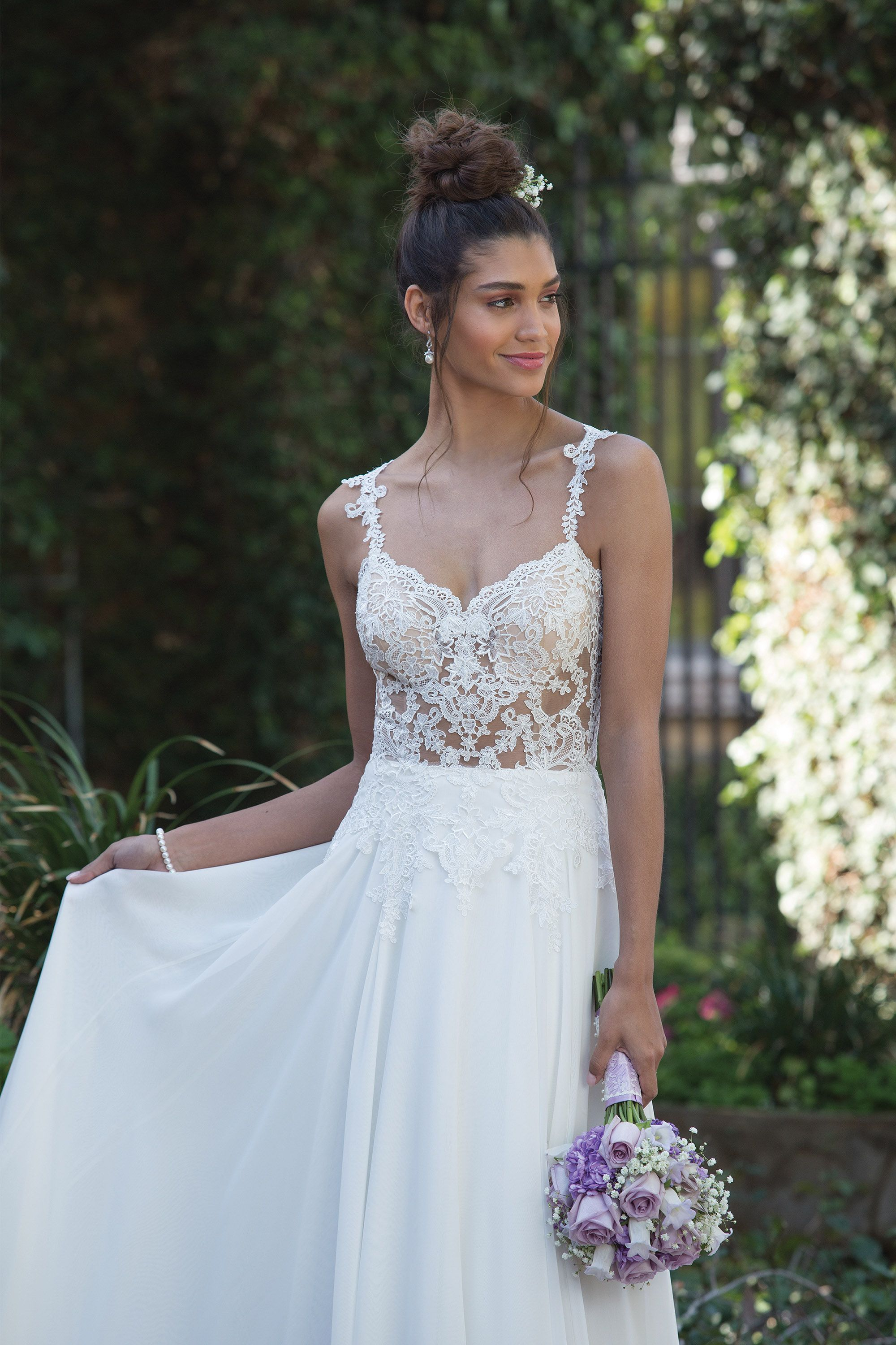 Illusion Bodice A-Line Gown with Delicate Chiffon Skirt available at ...
