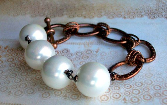 Pearl and Copper Love  Glass Pearl and Copper by JustBeCreative, $18.00