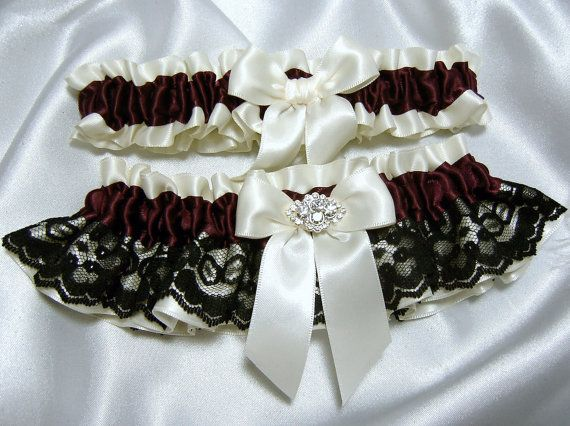 abb358c2d16 Maroon   Burgundy and Black Lace Wedding Garter Set - Available in White or  Ivory - Toss Garter Included