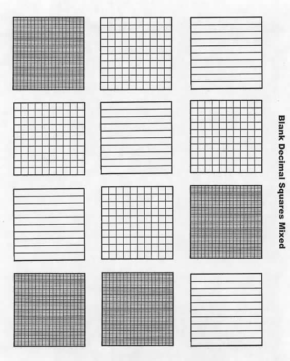 FREE blank decimal grids for tenths, hundreths \ thousandths on - blank grid chart