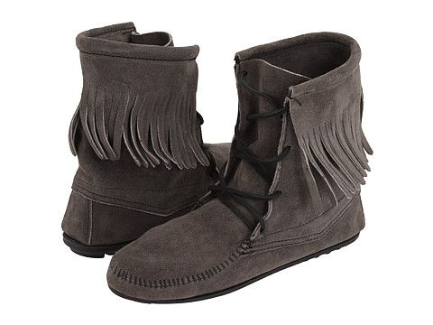 Minnetonka Tramper Ankle Hi Boot Grey Suede Boots Fashion Shoes Grey Suede Boots