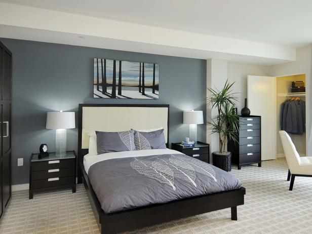 Best Sleek Sophisticated Bedroom Calming Blue Hues And Dark 640 x 480