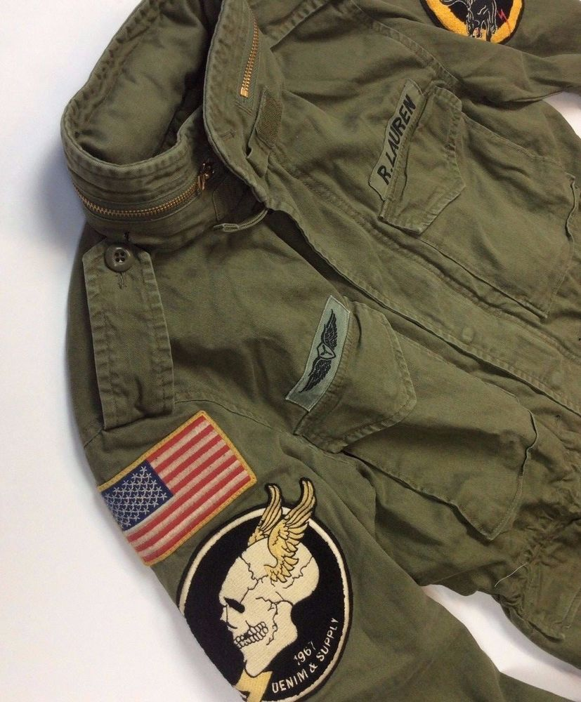 606e7f475 Denim Supply Ralph Lauren Men Military US Army American Flag Skull ...