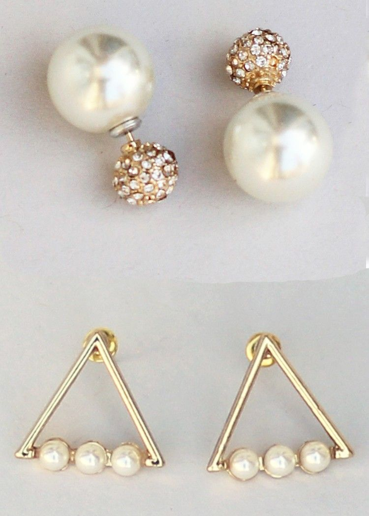 Trending Pearl Set Double Sided Earrings Pearls Modern