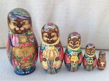 Russian Bear with SAMOVAR Hand Carved Painted UNIQUE Russian Nesting Doll Set