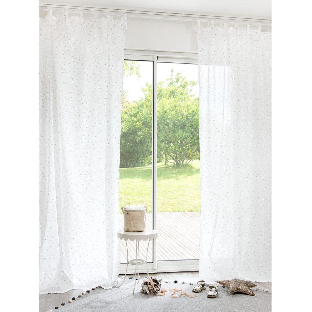 Single White Cotton Tie-Top Curtain 102x250