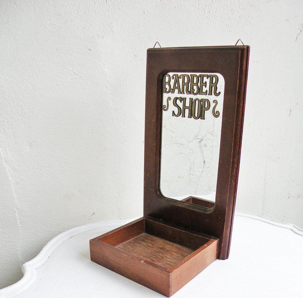 How To Hang Bathroom Mirror: Vintage Wood Barber Shop Mirror Shelf Tray Can Hang On