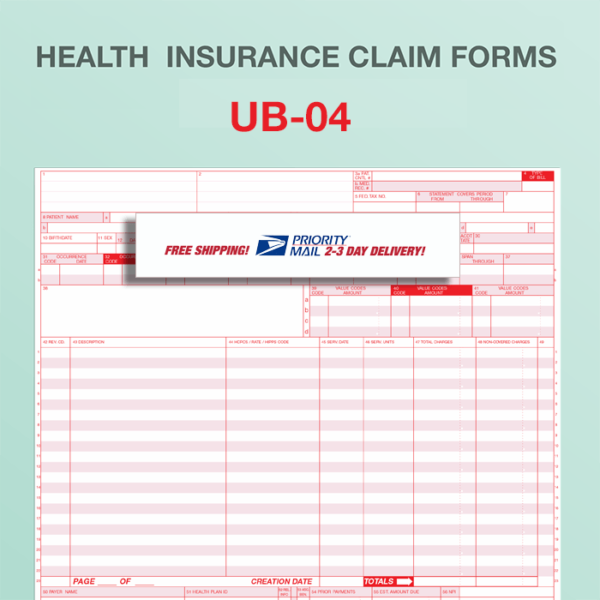 Ub 04 Billing Claim Form Paper Forms Free Priority Shipping