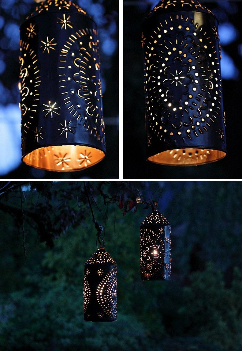 Punched Tin Light Lantern Primitive Rustic by