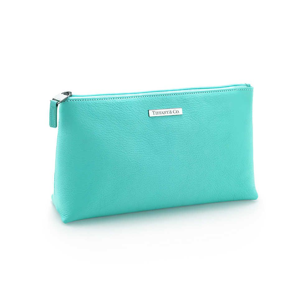 Cosmetics Bag In Tiffany Blue Leather Medium More Colors Available Tiffany Co Bags Purses Cosmetic Bag