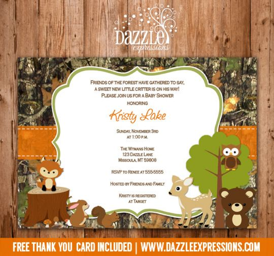 printable woodland camo baby shower invitation  forest animals, Baby shower invitation