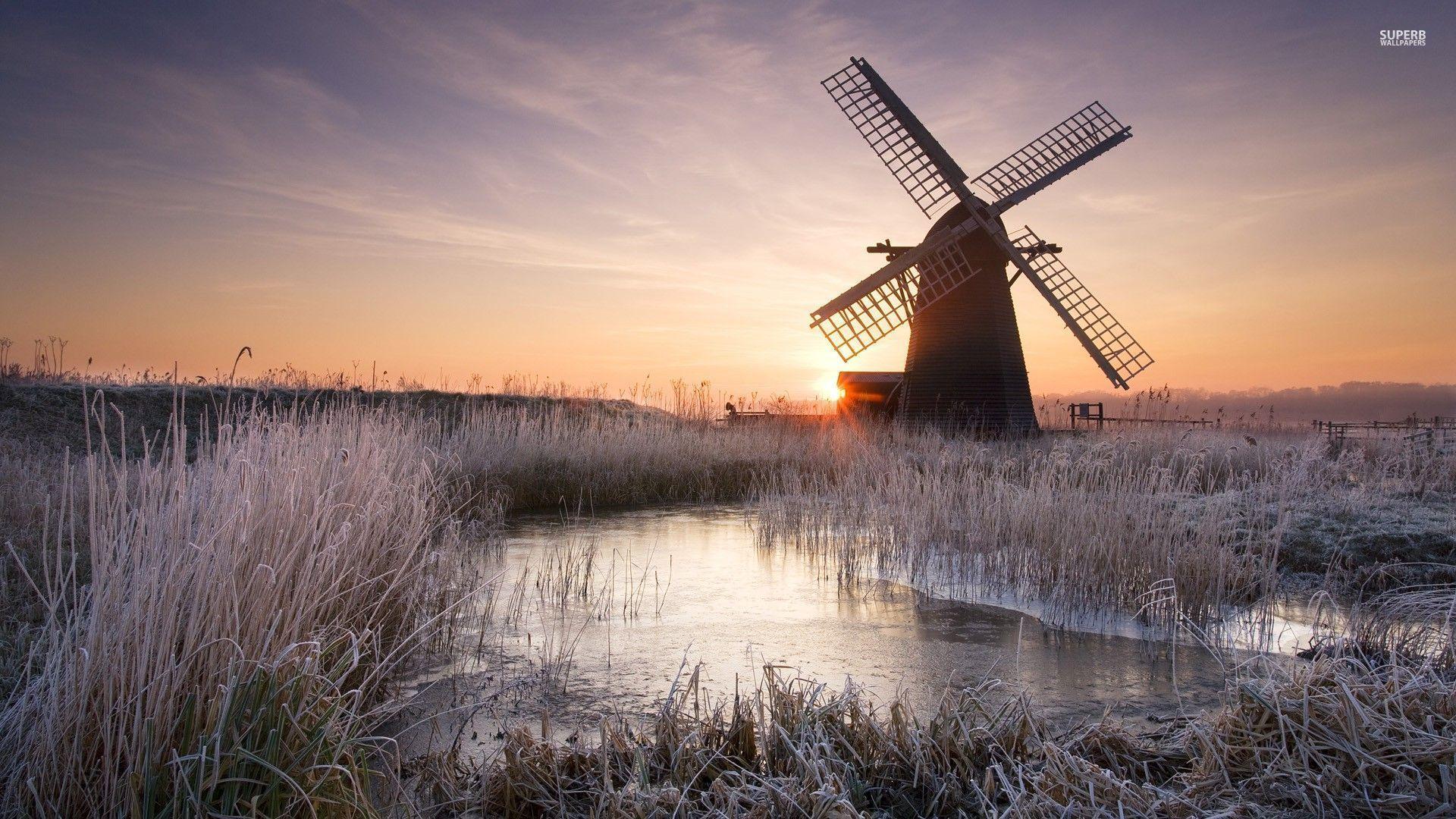 Windmill On A Frosty Morning Wallpaper Windmill Landscape Wallpaper