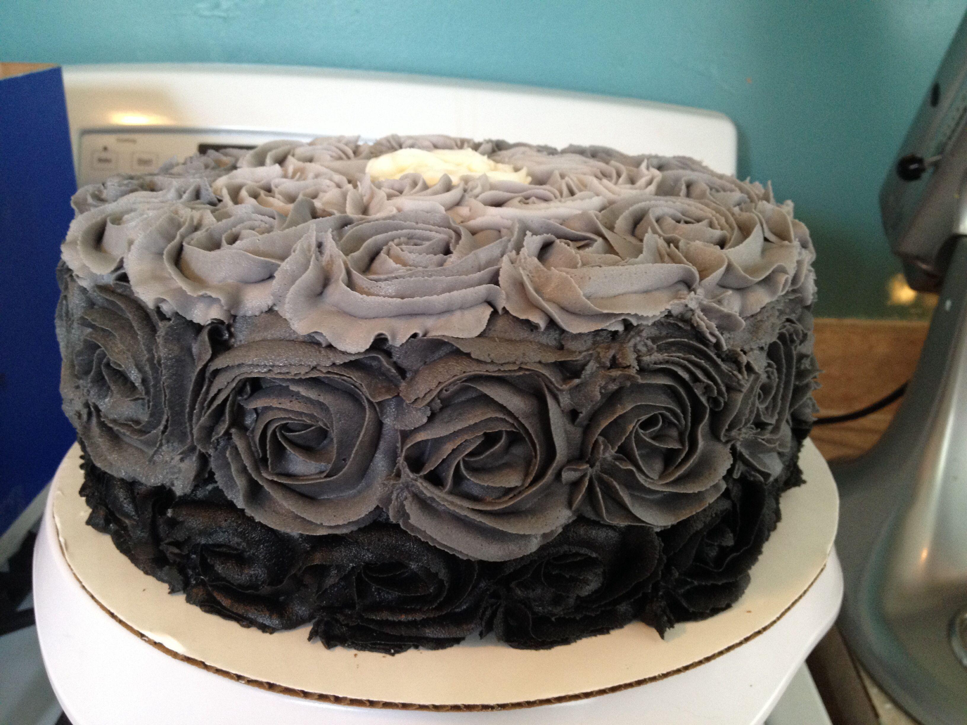 Black Ombre Rose Cake