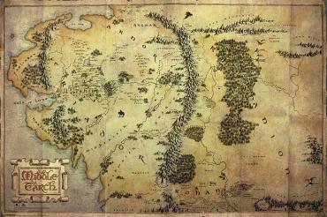 Der Hobbit Journey Map Querformat 91 5 X 61 Cm Motiv