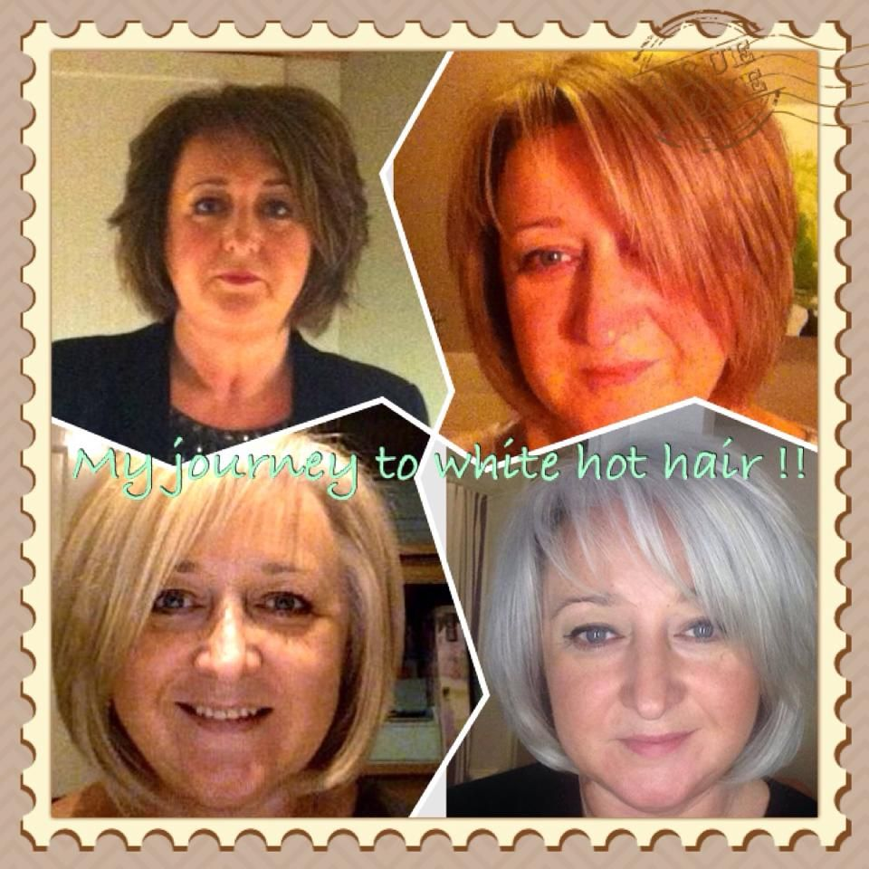 Julie - from brunette, to blonde, to brilliantly silver.