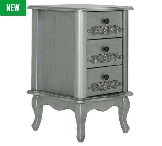 Buy Argos Home Sophia 3 Drawer Bedside Table Silver Bedside