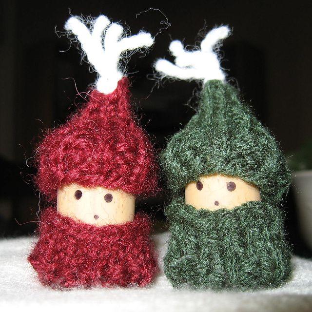 Cork People: Korknisse Wine Cork People From Christmas, Scrap Yarn