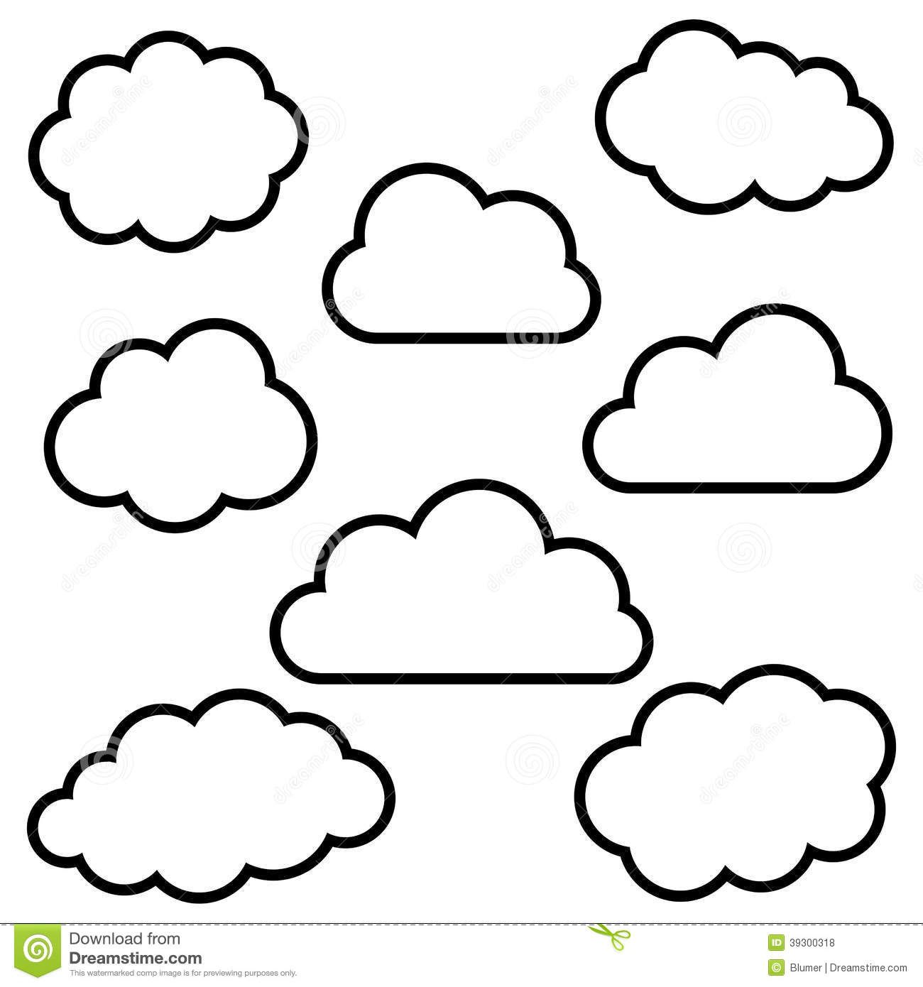 Free Download Sky Clouds Outline Clipart For Your Creation
