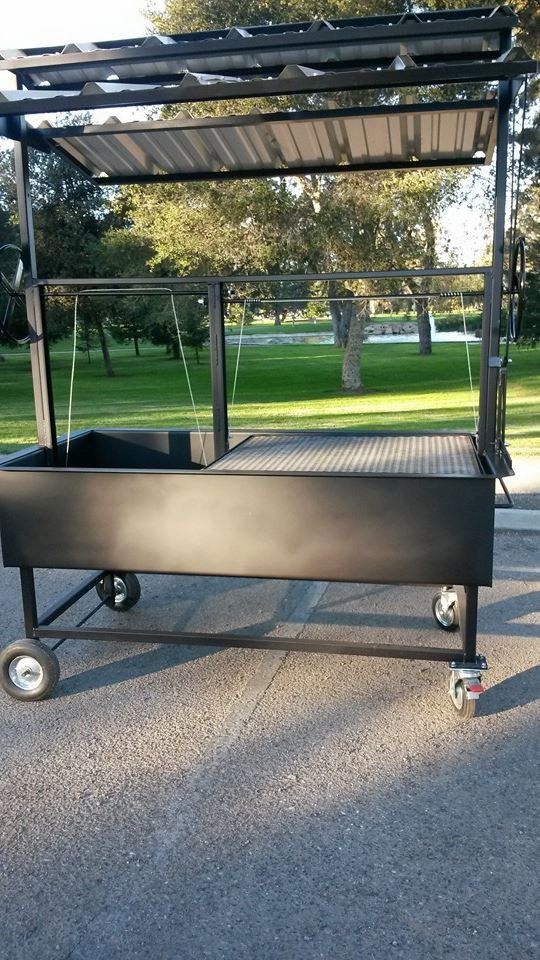 72 X 36 Comercial Santa Maria Bbq Grill Pit With Collapsible Roof And Cover Lids Bbq Grill Grilling Santa Maria Bbq