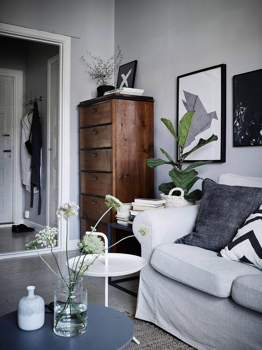 Innenarchitektur wohnzimmer für kleine wohnung cozy grey home  via cocolapinedesign  wohnzimmer  pinterest