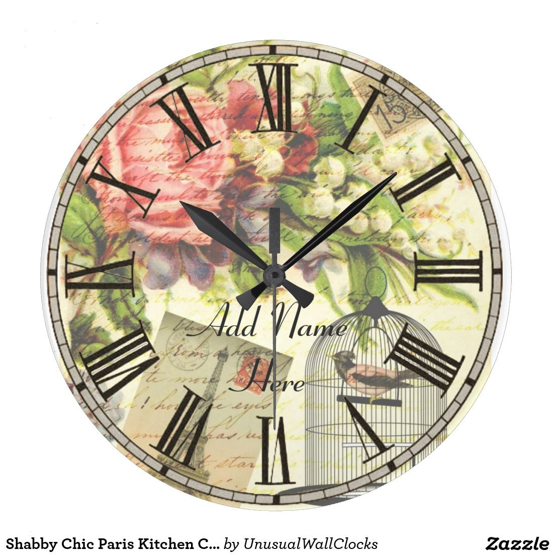 Shabby Chic Paris Kitchen Clock add name customize design by Unusual Wall Clocks - customizable