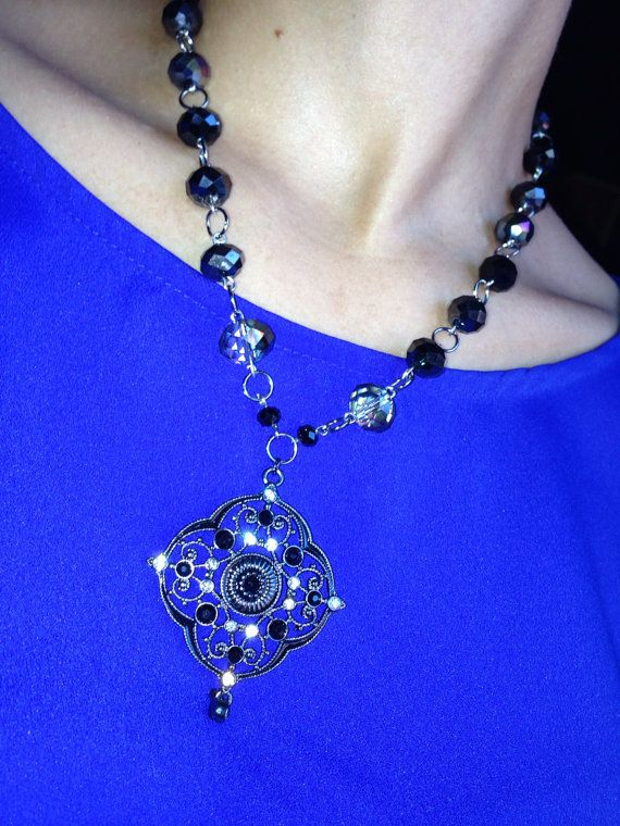 Crystal Beaded Necklace w/ Swarovski Pendant   on Etsy, $45.00