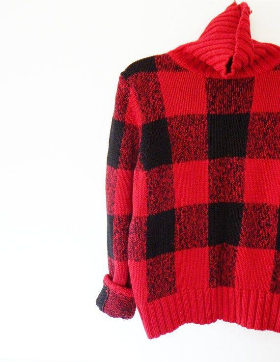 Chunky Buffalo Plaid Vintage Sweater / Cozy Cotton Lumberjack Sweater / Vintage Plaid Turtleneck Sweater