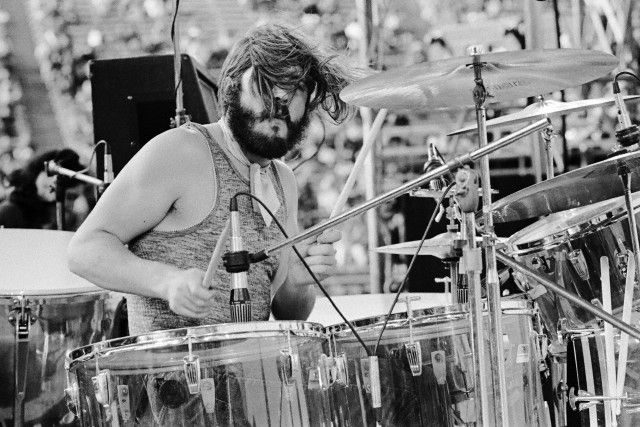 """ John Bonham on stage at Kezar Stadium in San Francisco, 1973. """