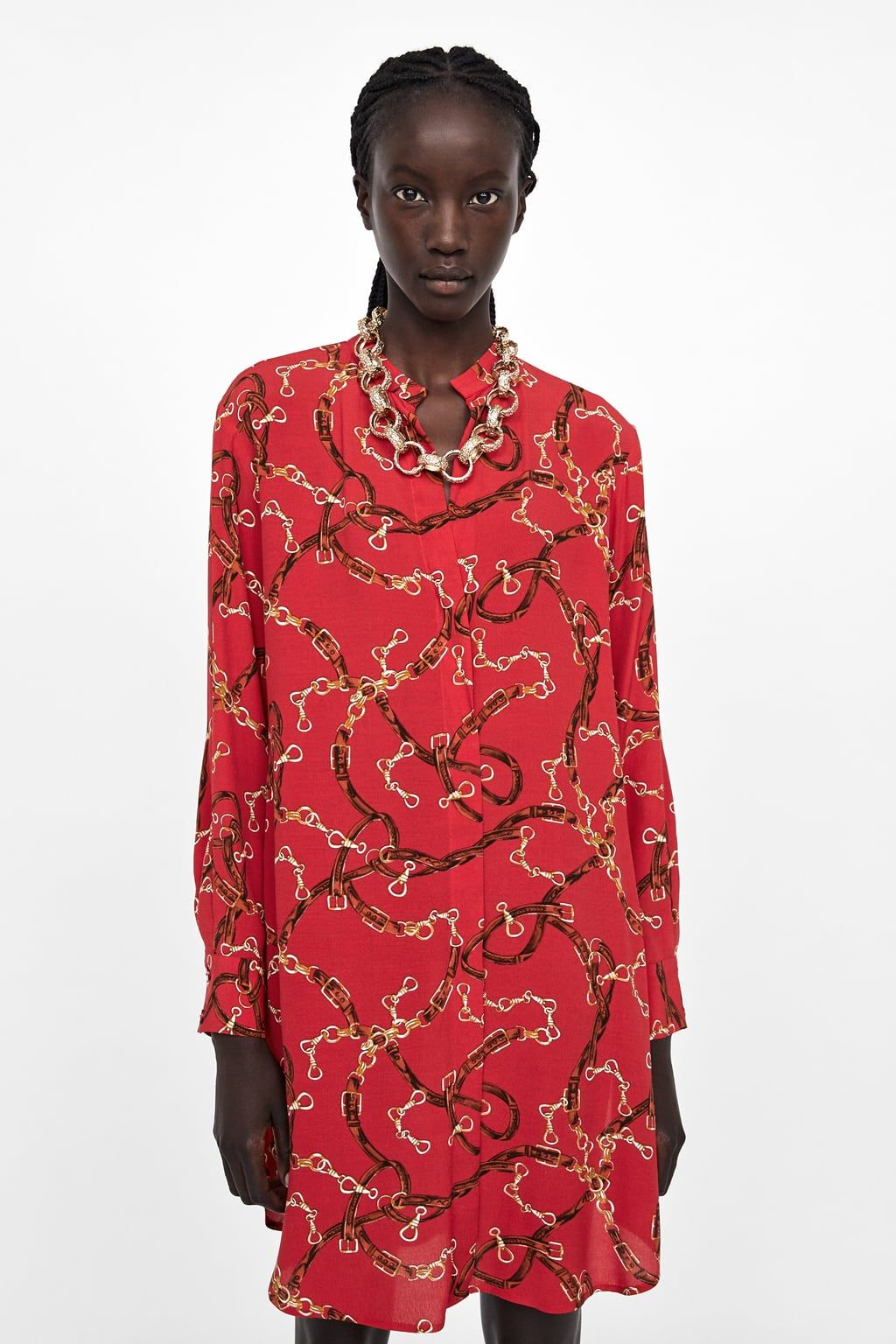 35b54aef00 Image 2 of CHAIN PRINT DRESS from Zara Zara, Shirt Dress, Fashion Trends,