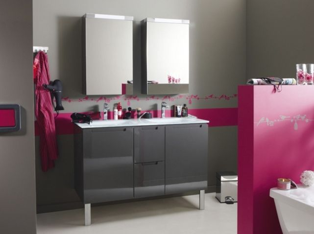 salle de bain gris et fushia peinture pinterest. Black Bedroom Furniture Sets. Home Design Ideas
