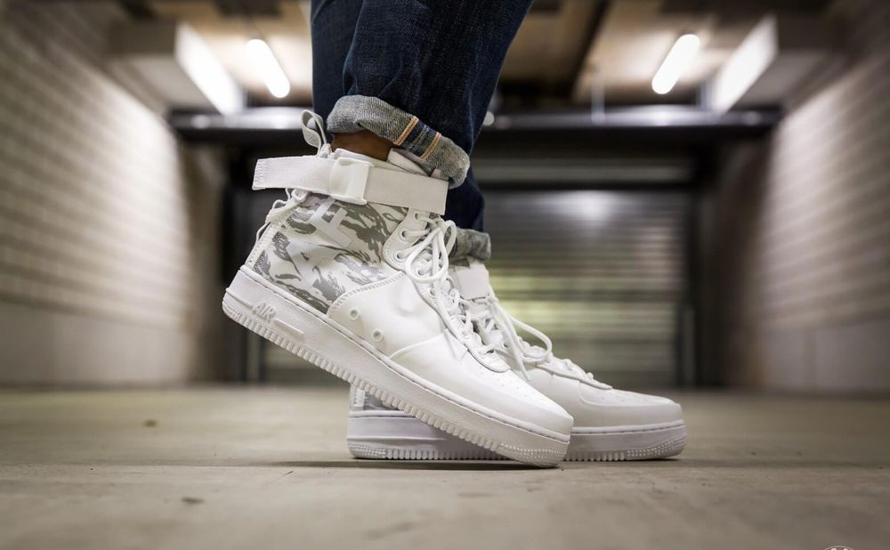 reputable site 1392e eb999 NIKE SF AIR FORCE 1 MID IBEX - LE SNOW CAMO WHITE SNEAKERS ALL SIZES