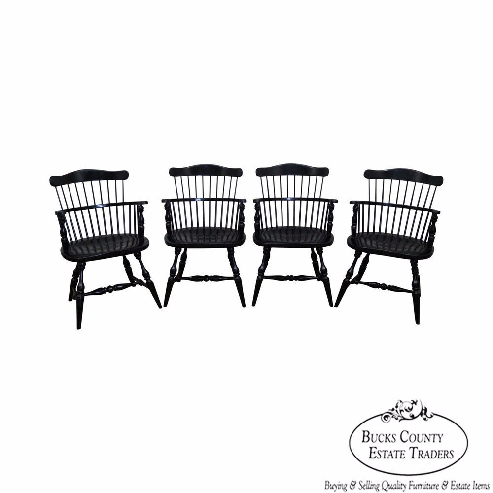 Duckloe Brothers Set Of 4 Black Painted Windsor Arm Chairs #Traditional