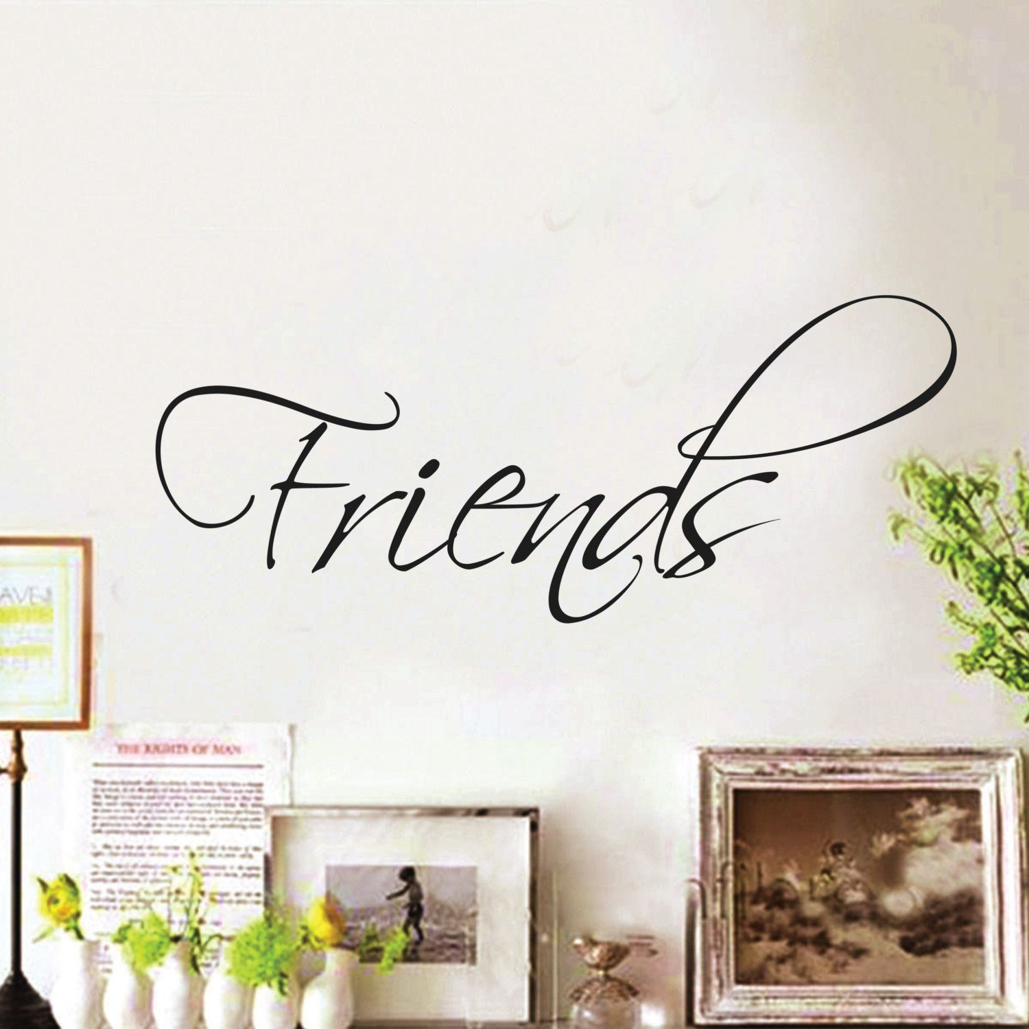 Wall Sticker Quote Quot Friends Quot Home Wall Decal Decor Swirly Writing Word Saying Design Hom Wall Stickers Quotes Living Wall Art Home Design Diy