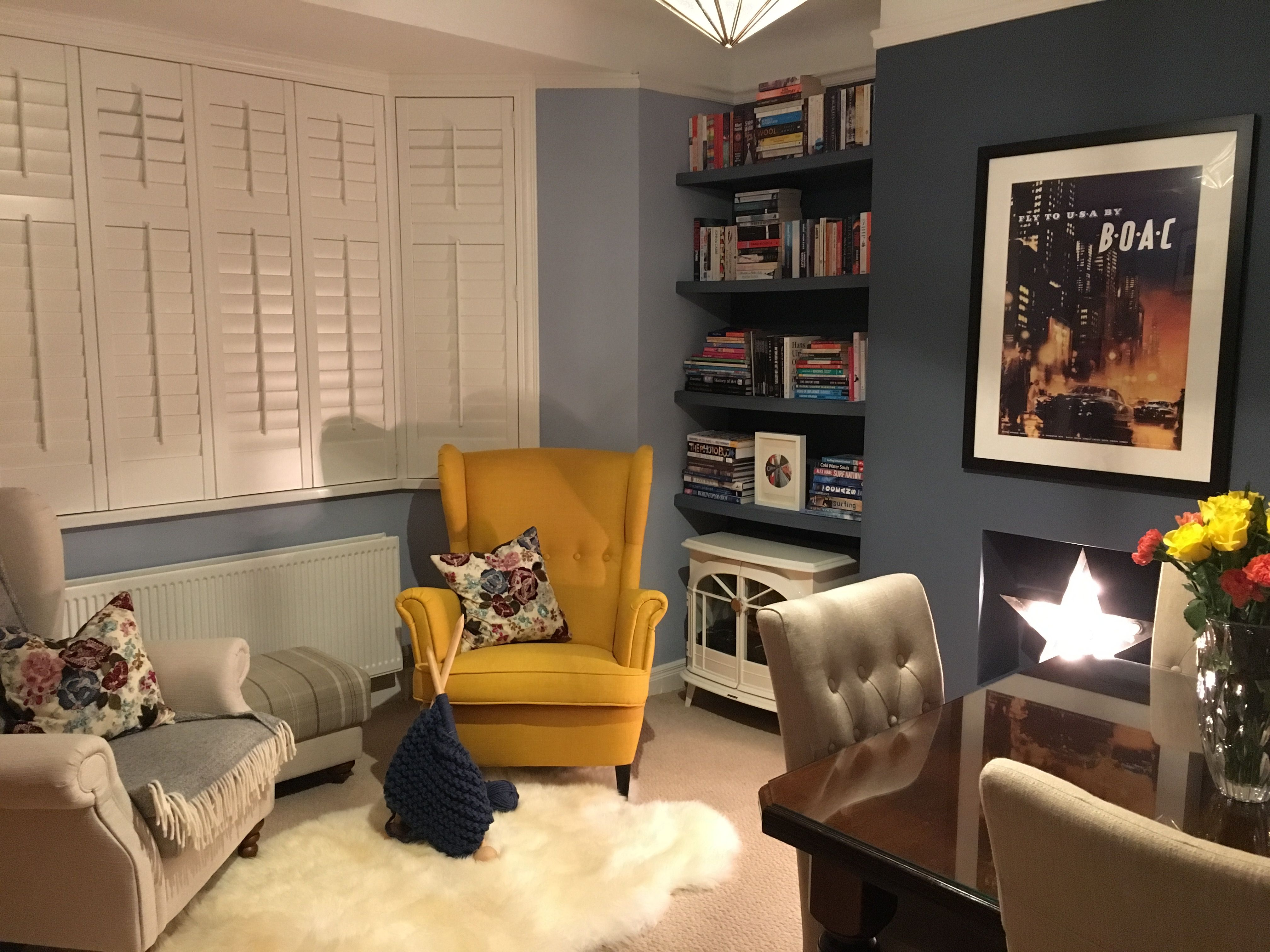 Yellow Ikea Strandmon Chair Against Little Greene Juniper Ash And