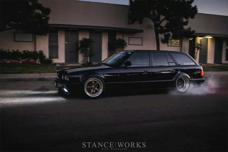 bmw e34 5 series touring black slammed stanceworks bmw pinterest