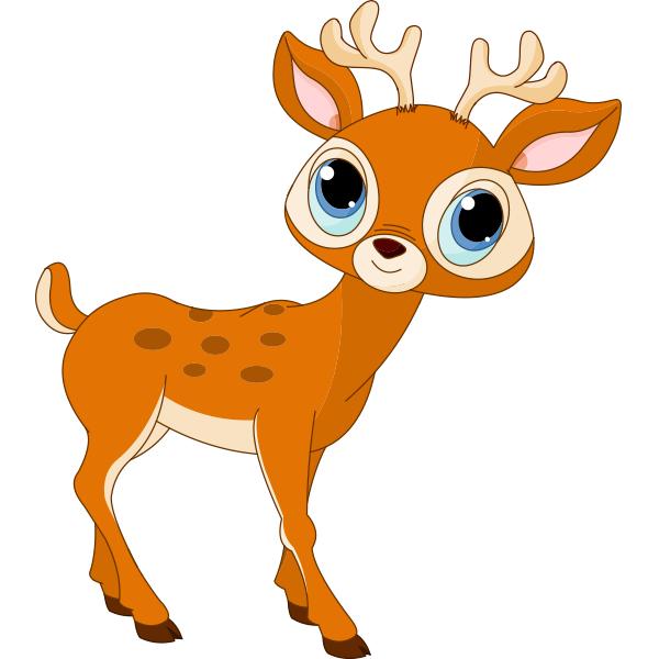 Deer cartoon. Blue eyed animals emoticons