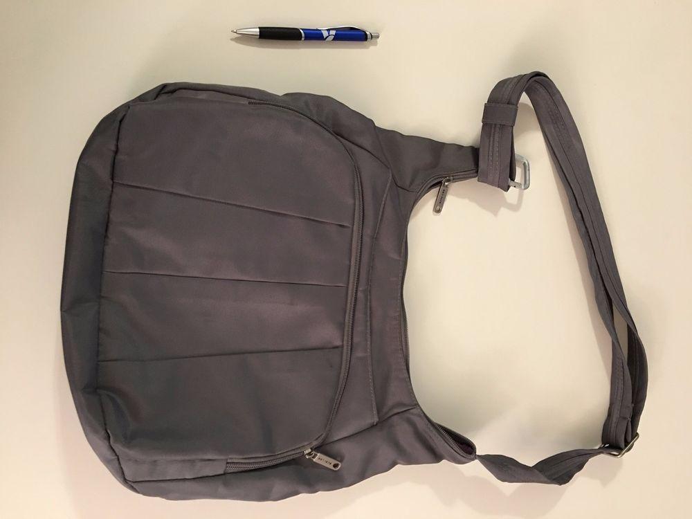 Travelon Hobo Anti Theft Travel Crossbody Gray Bag Safe Secure Rfid Protection Ebay Grey Bag Travel Crossbody Rfid Protection