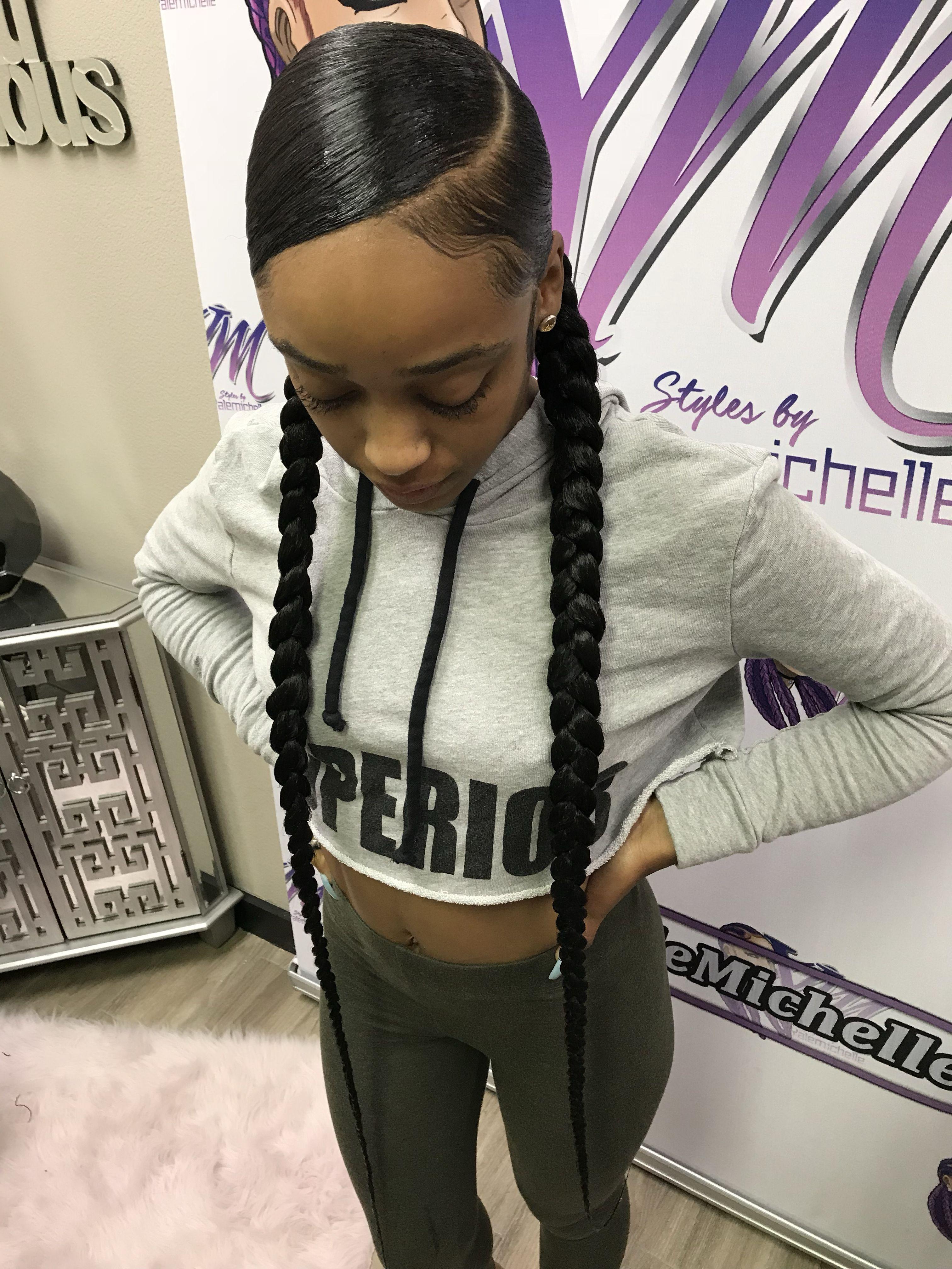 2 Ponytails Black Girl Braided Hairstyles Sleek Braided Ponytail Hair Ponytail Styles