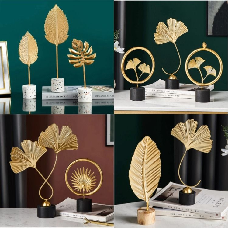 Creative Gold Home Decoration Accessories Modern Flowers Ornaments Decor Living Room Ornaments Home Decor Colors
