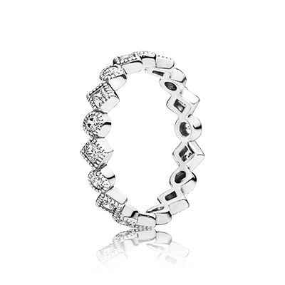 a2853dbf5 PANDORA | Round and square eternity silver ring with cubic zirconia ...