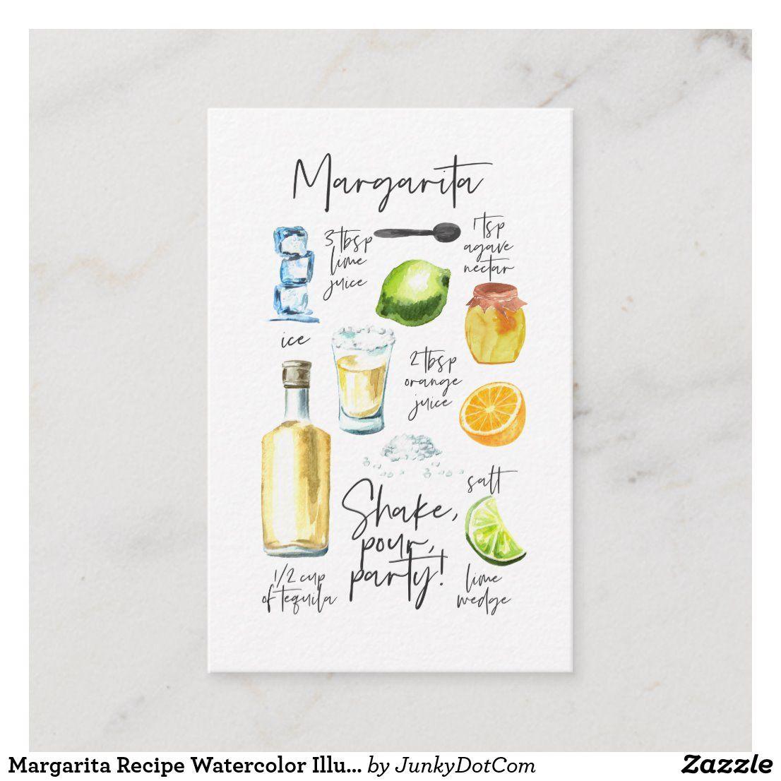 Margarita Recipe Watercolor Illustration Business Card