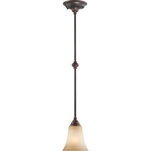 Franklin Georgetown Bronze One-Light Pendant with Sienna Glass