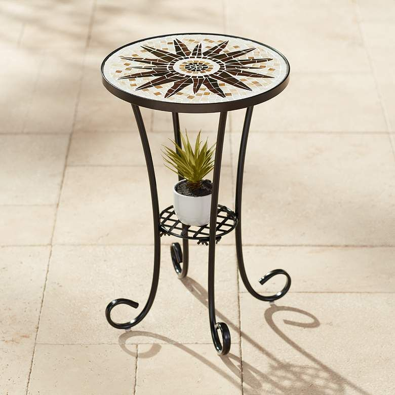 Teal Island Designs Sunburst Mosaic Black Outdoor Accent Table