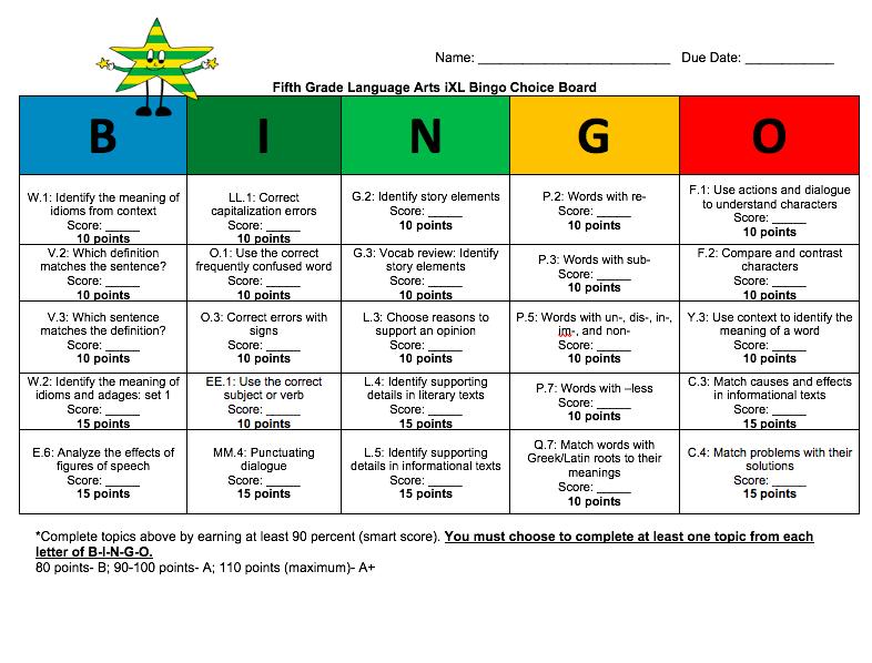 Fifth Grade ELA iXL Bingo | Language Arts | Fifth grade
