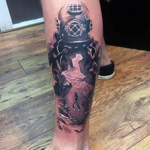 Male Cool Diver Tattoo Ideas On Side Of Leg With 3d ...