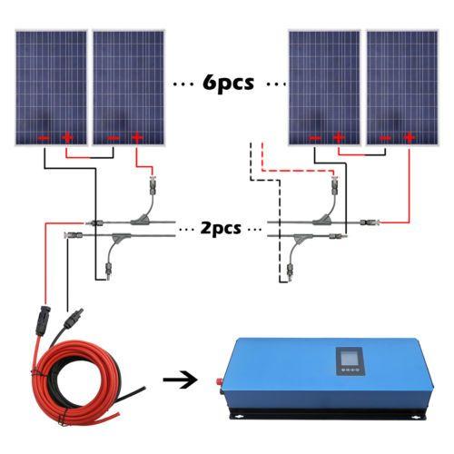 Eco 1000w 1kw Home Grid Tie Solar System 10pcs 100w Solar Panel Kit Power Chagre Solar System Kit Solar Panels For Home Solar Panel Kits