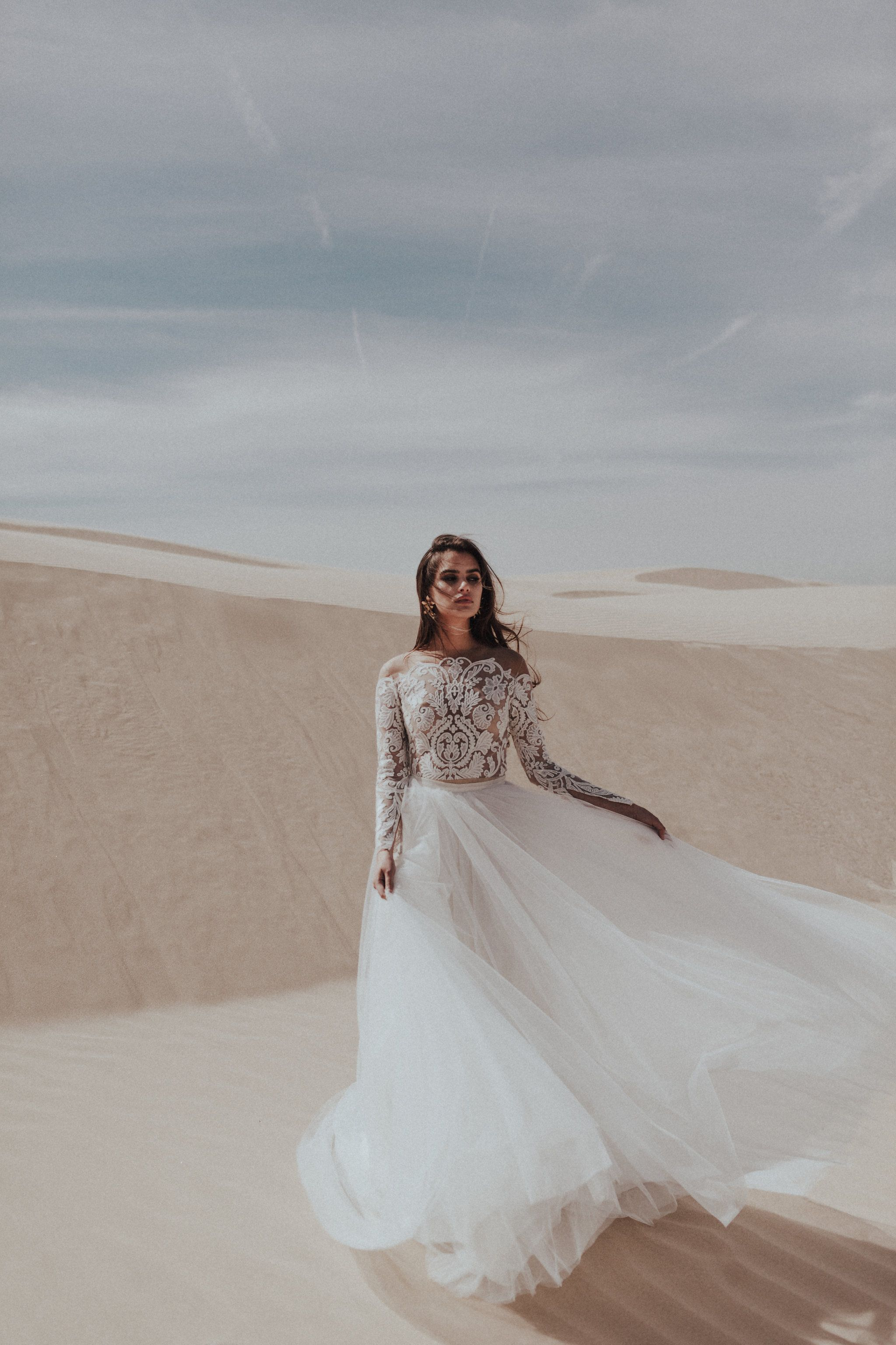 Sarah Seven Wedding dress separates off the shoulder wedding gown