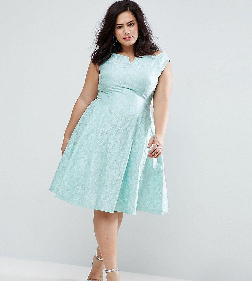 Coast Plus - Kimberley - Jacquard-Kleid mit Bardot-Ausschnitt - Grün ...