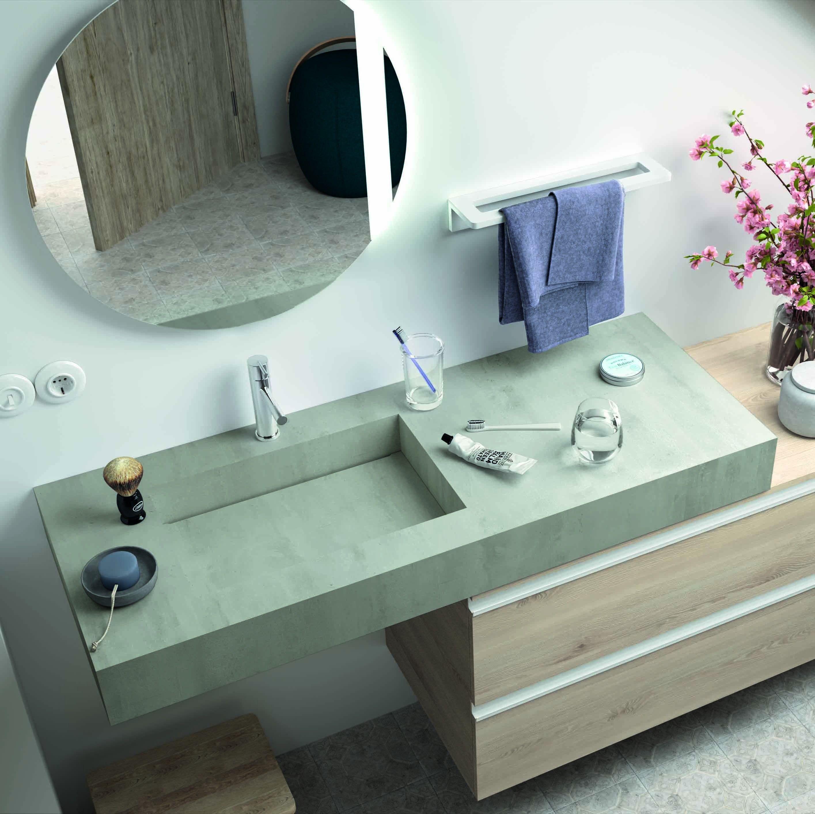 Mobile Sotto Mensola Bagno mensola stone lavabo integrato - cemento | mensole
